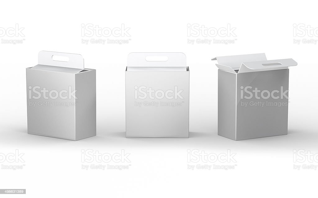 White cardboard  paper box packaging with handle, clipping path stock photo
