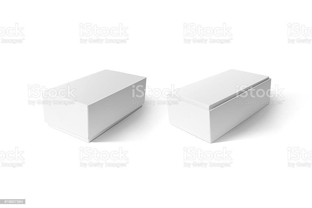 White cardboard phone box set mockup, side view, clipping path stock photo