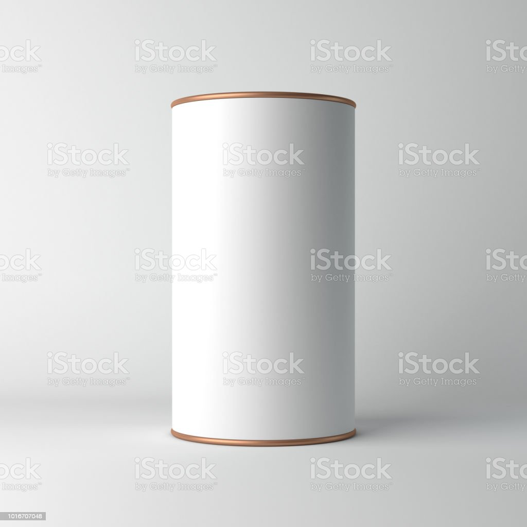 White cardboard Tin Can packaging Mockup with metal copper lid. Tea, coffee, dry products, gift box White cardboard Tin Can packaging Mockup with metal copper lid. Tea, coffee, dry products, gift box. 3d rendering Aluminum Stock Photo