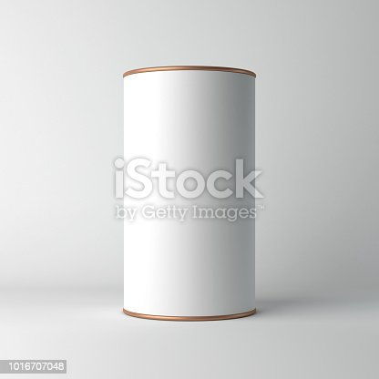 istock White cardboard Tin Can packaging Mockup with metal copper lid. Tea, coffee, dry products, gift box 1016707048