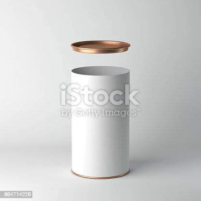 istock White cardboard Tin Can packaging Mockup with open metal copper lid. Tea, coffee, dry products, gift box 864714226