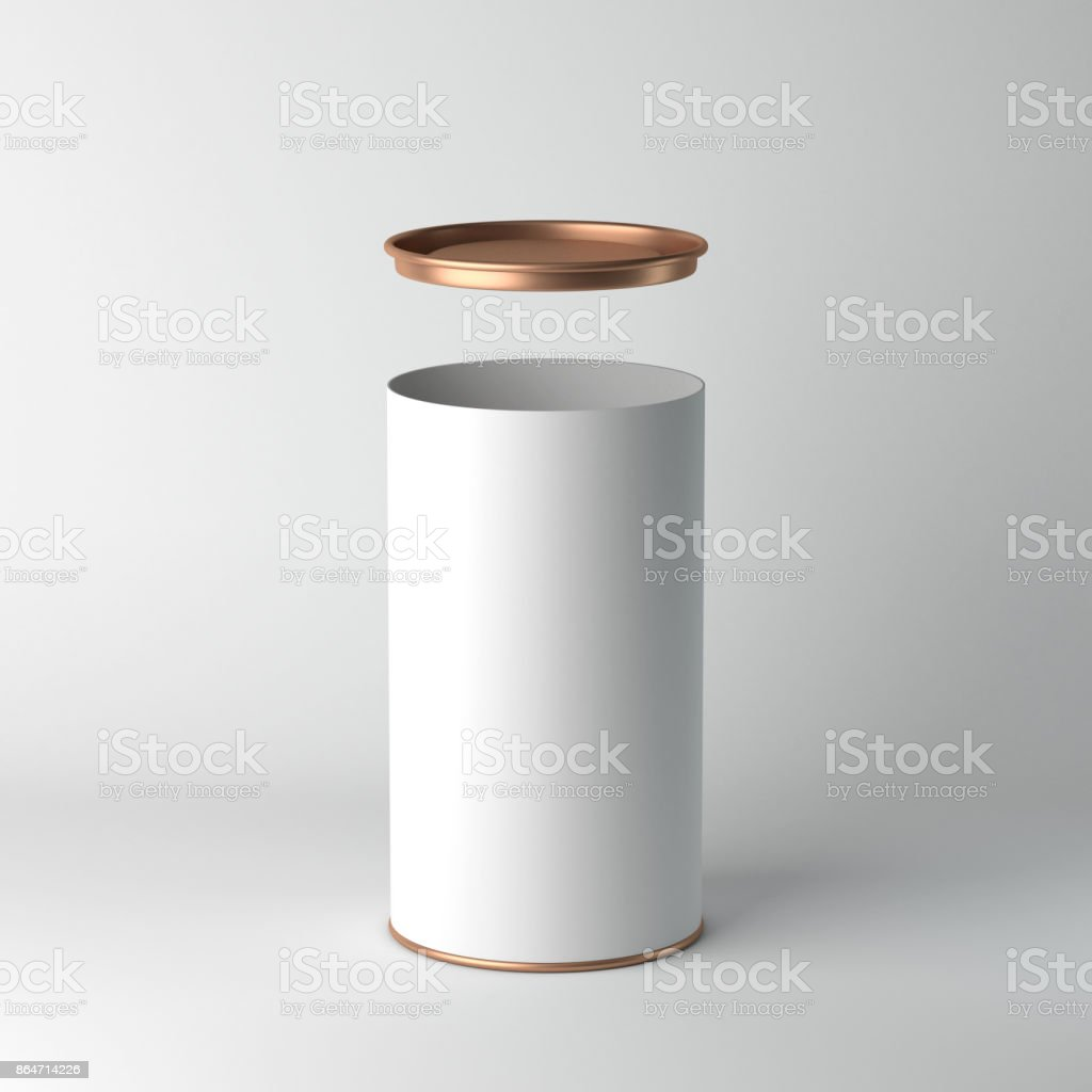 White cardboard Tin Can packaging Mockup with open metal copper lid. Tea, coffee, dry products, gift box stock photo