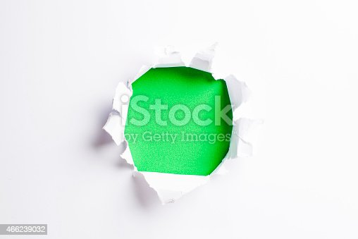 472273278 istock photo White card/paper with torn hole in the middle, colourful background 466239032