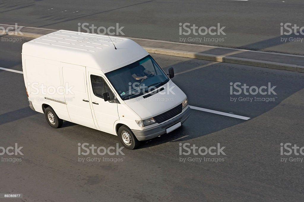 white cargo blank Shuttle Bus stock photo