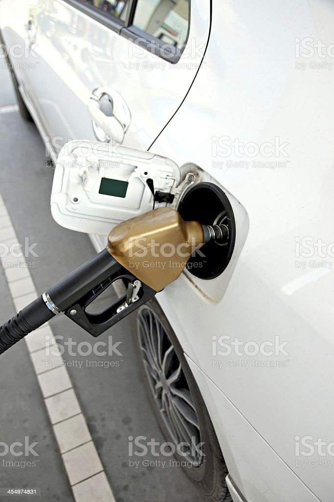 White cars are fuel filler. royalty-free stock photo