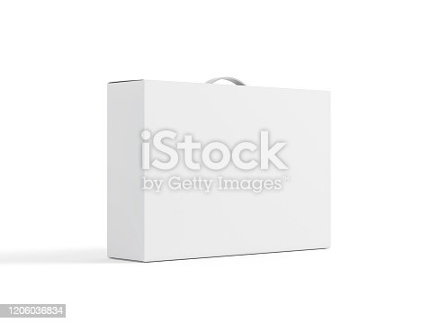 White carton Box With Handle Mockup on white background, package for laptop, 3d rendering