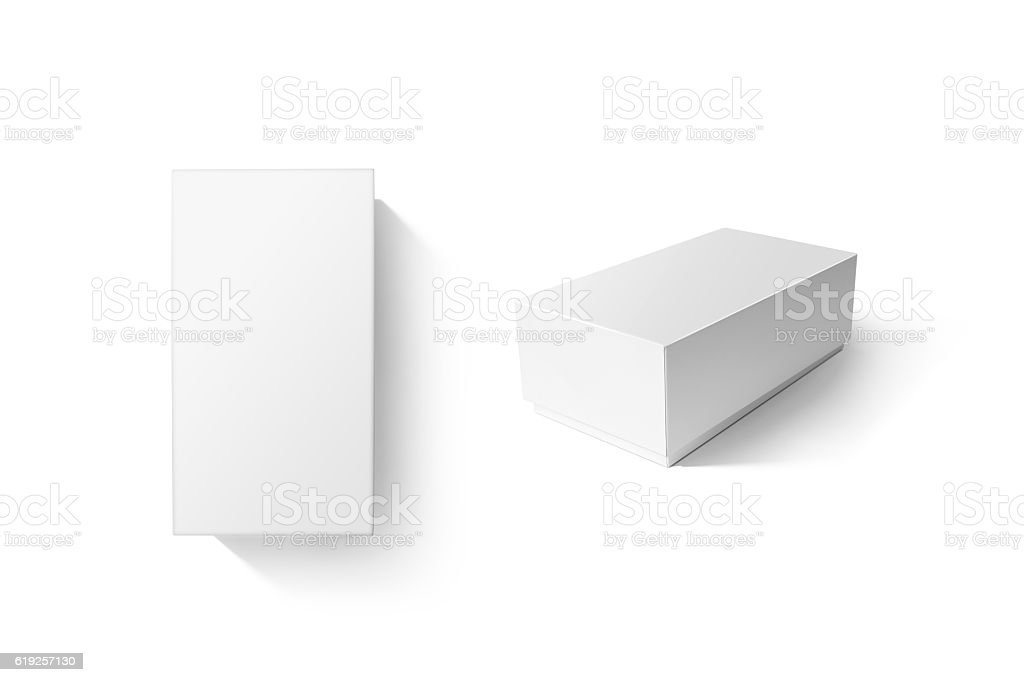 White carton product box set mockup, top side view stock photo