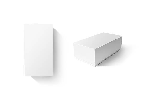 White carton product box set mockup, top side view stock photo