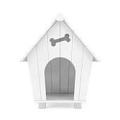 White Cartoon Dog House in Clay Style. 3d Rendering