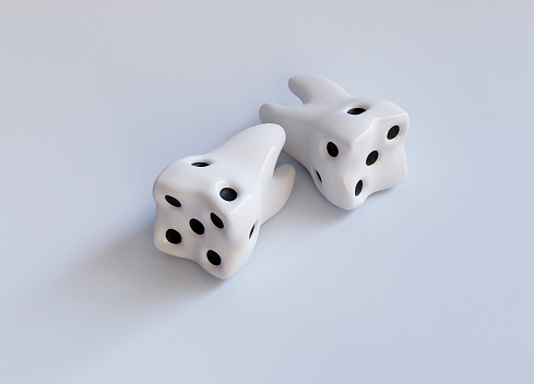 istock White Casino dice as a tooth on white. Dental caries. Do not play with caries creative concept. Realistic 3d render illustration 1175047353