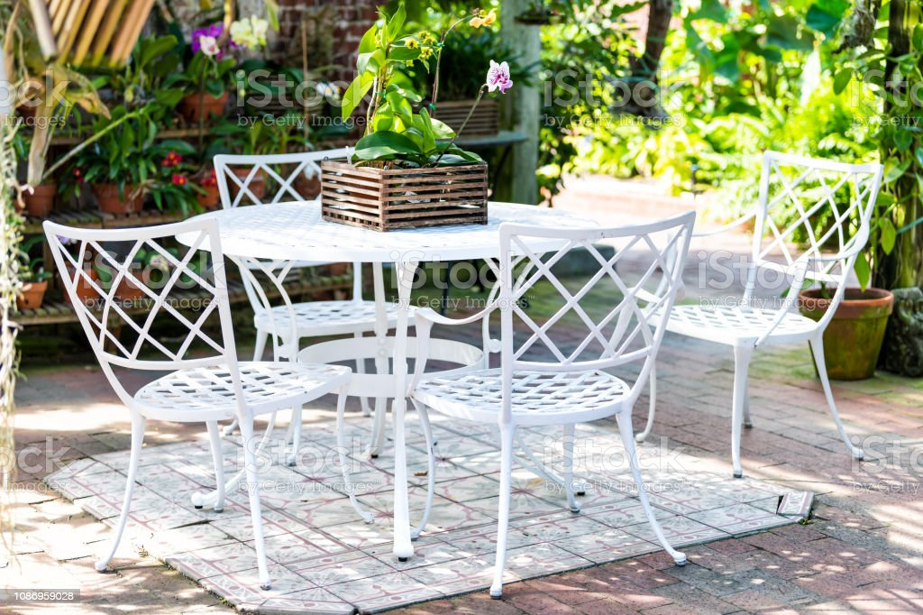 Strange White Cast Iron Chairs Table In Outdoor Outside Sitting Area Customarchery Wood Chair Design Ideas Customarcherynet
