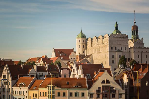 White castle with towers in Szczecin, Poland – zdjęcie