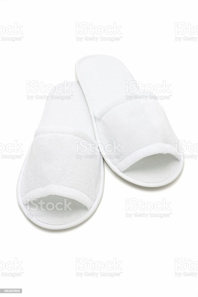 White casual home slippers royalty-free stock photo