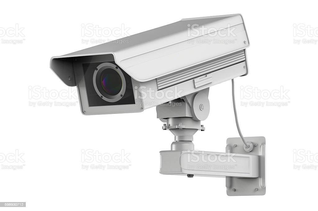 white cctv camera or security camera isolated on white stock photo