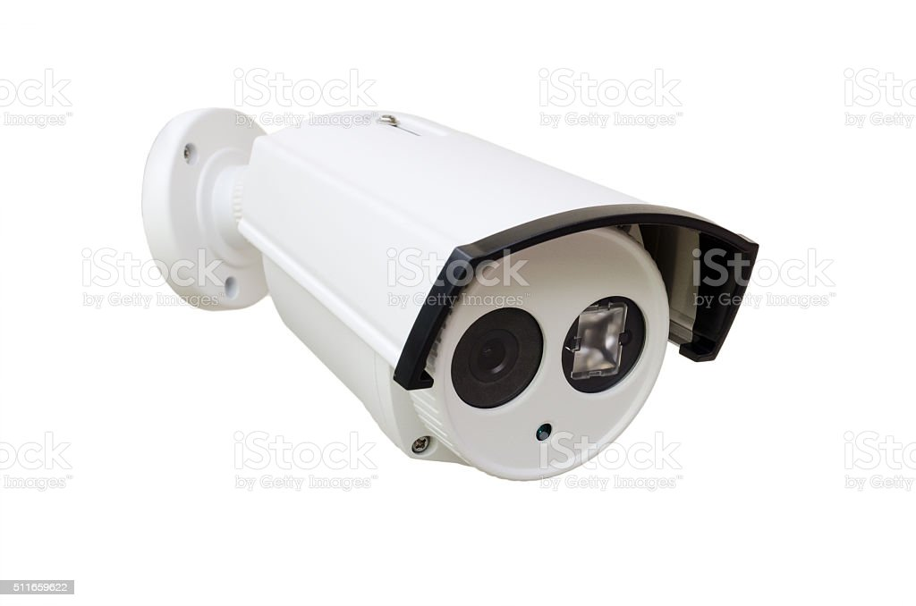 white CCTV security camera stock photo