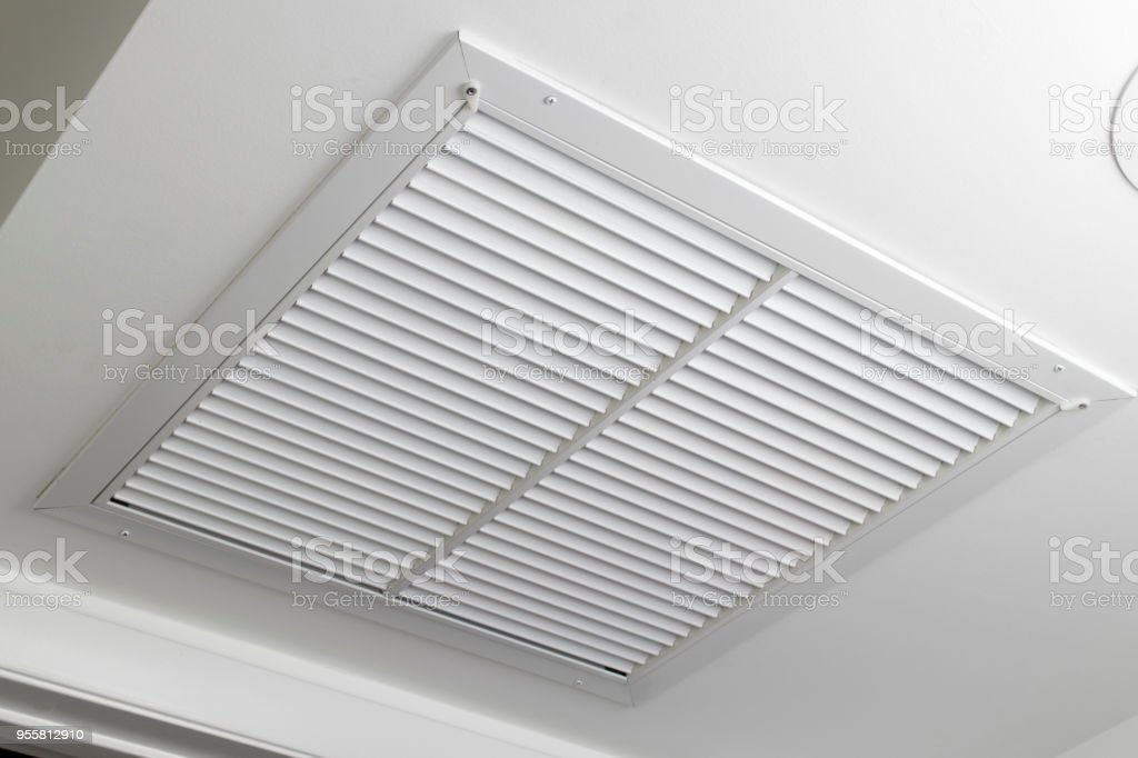 White Ceiling Air Filter Vent Grid stock photo