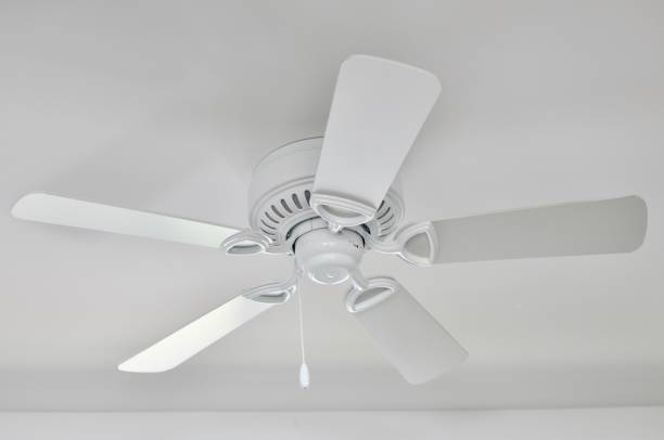 White ceiling fan White ceiling fan in home. ceiling fan stock pictures, royalty-free photos & images
