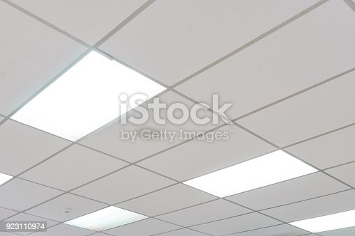 White ceiling with neon light bulbs in uprisen view.as background interior decoration concept with copy space for your text or design.