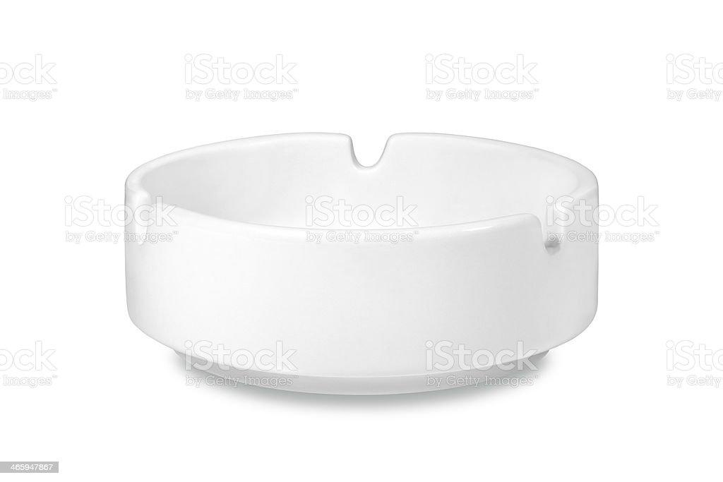 White ceramic ashtray stock photo