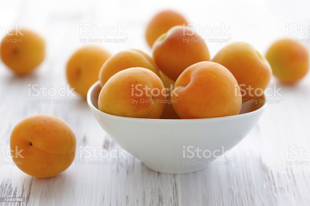 A white ceramic bowl filled with apricots stock photo