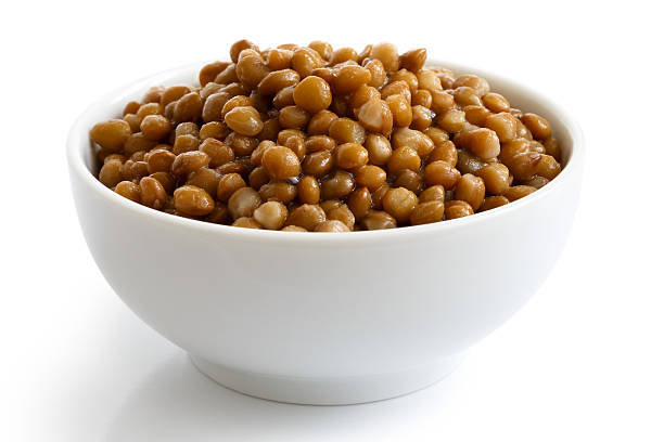 White ceramic bowl of brown cooked lentils isolated on white. stock photo