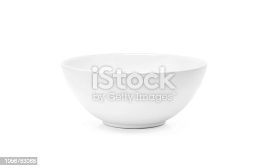 white ceramic bowl or deep dish simple kitchenware isolated on white background with clipping path