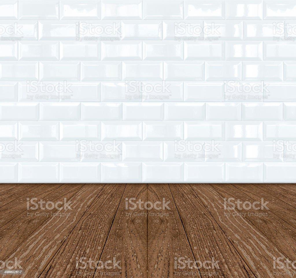 Weiße Keramik Ziegel Wand Fliesen Und Holzboden Stock-Fotografie und ...