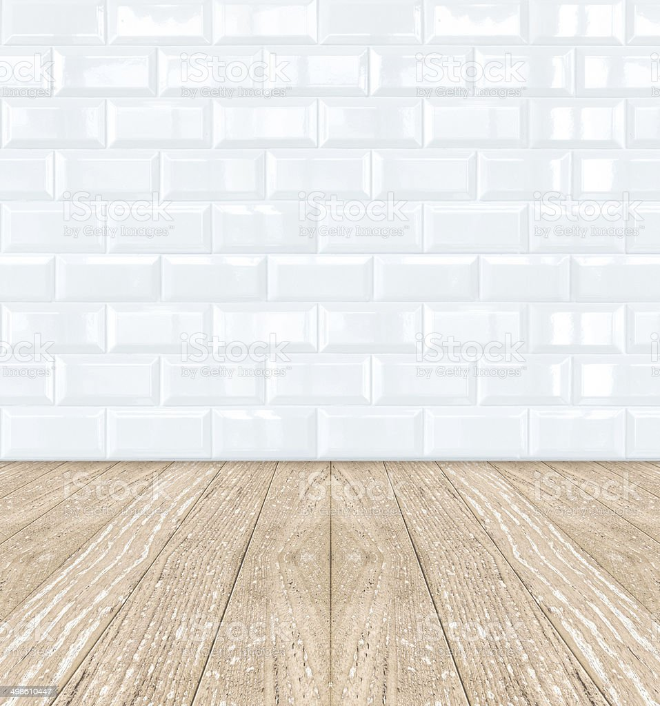 Pottery Brick Floor Wurm: White Ceramic Brick Tile Wall And Wooden Floor Stock Photo