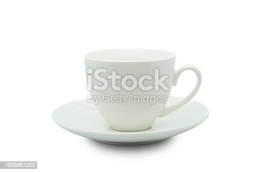 White ceramic cup isolated from white background with clipping path.
