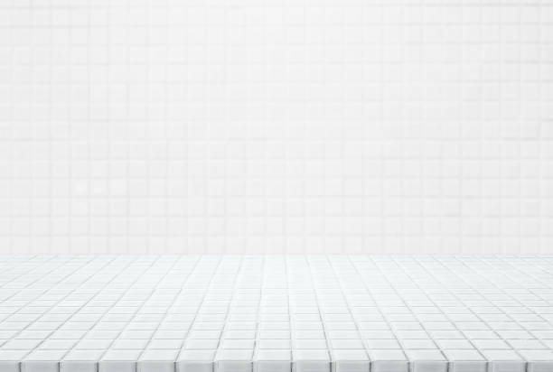 white ceramic mosaic table top and wall background - can used for display or montage your products. - tile stock photos and pictures