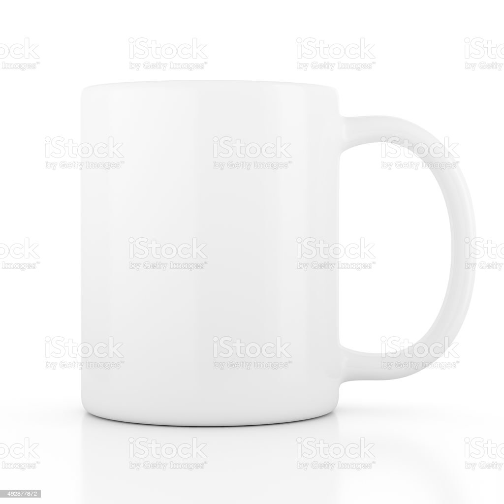 White ceramic mug empty blank for coffee or tea stock photo