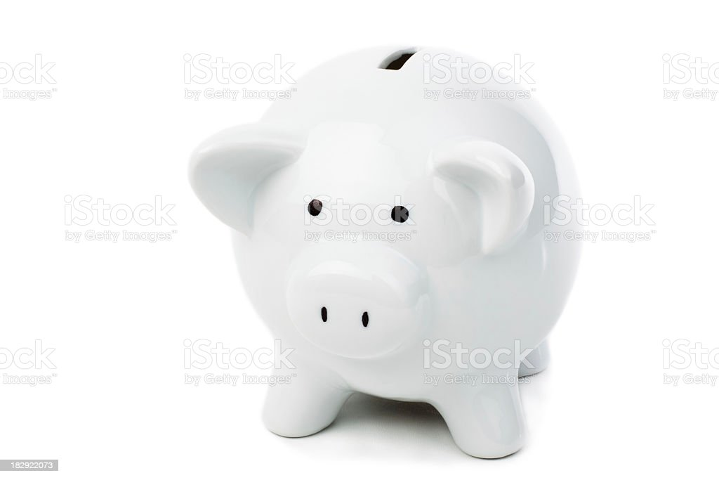 White ceramic piggy bank on a white background royalty-free stock photo
