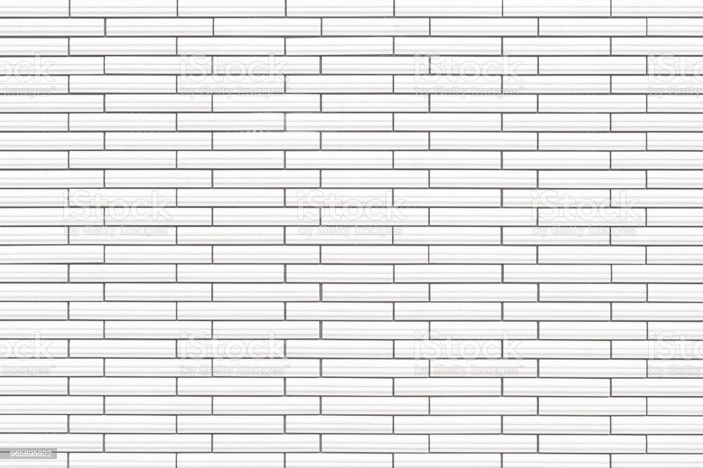 Witte keramische tegel bakstenen muur textuur en achtergrond - Royalty-free Architectuur Stockfoto