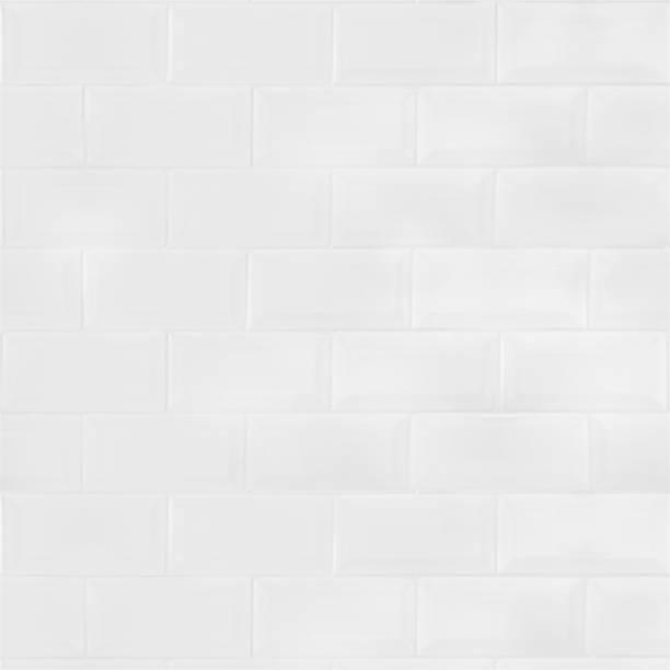 White ceramic tiles brick wall stock photo