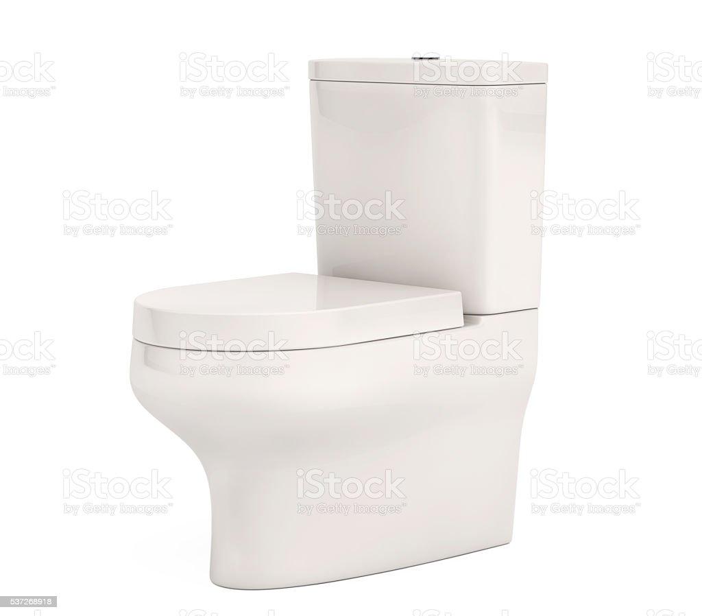 White Ceramic Toilet Bowl. 3d Rendering stock photo