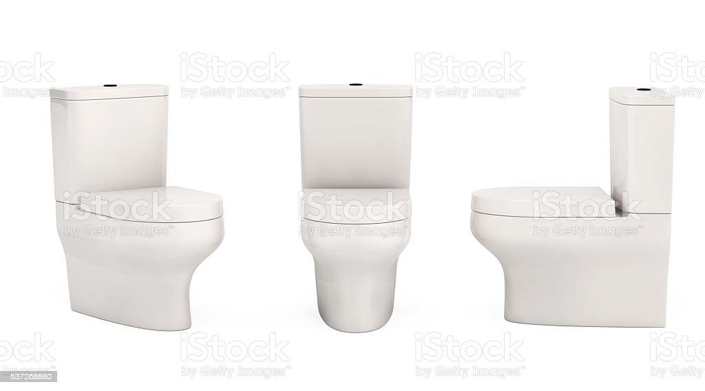 White Ceramic Toilet Bowls. 3d Rendering stock photo