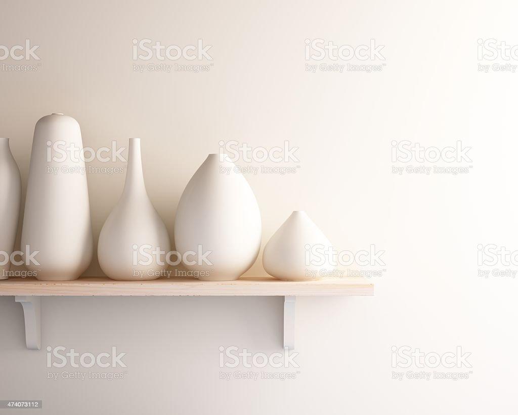 white ceramic vase on wood shelf white ceramic vase on wood shelf 2015 Stock Photo