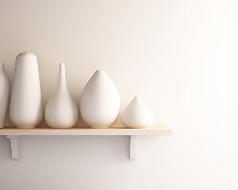 White Ceramic Vase On Wood Shelf Stock Photo - Download Image Now