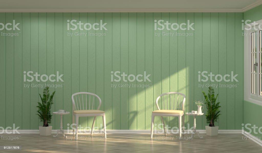 Weißer Stuhl Vor Grüne Wand Mit Sonnenlicht In Den Raum 3d Rendering ...
