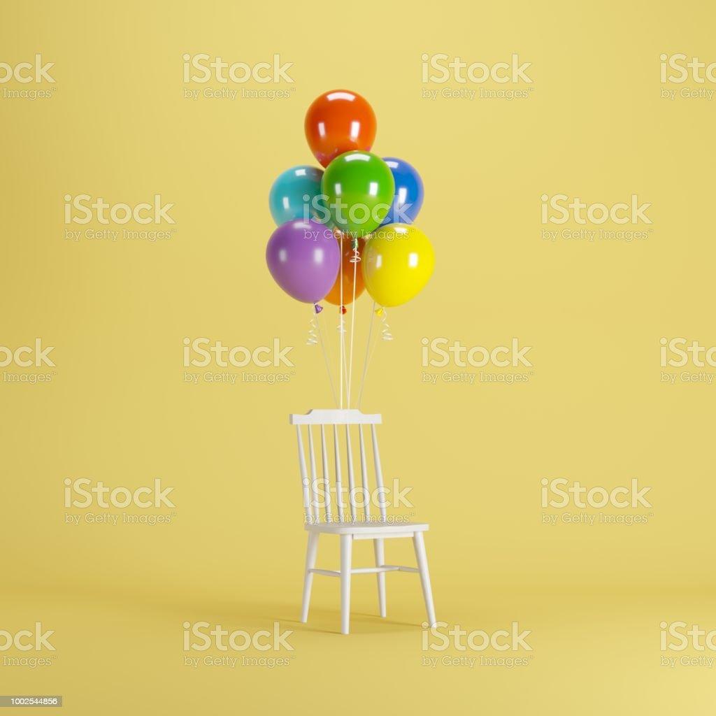 Weißer Stuhl Mit Bunten Luftballons Schweben Auf Gelbem Hintergrund