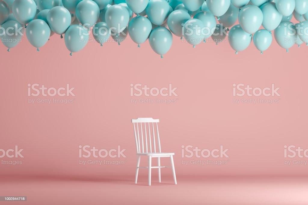 Weißer Stuhl Mit Schwimmenden Blauen Ballons Im Rosa Hintergrund