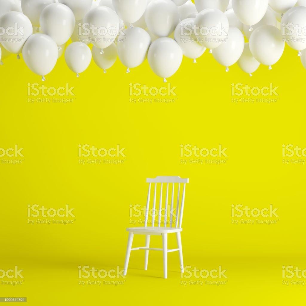 Weißer Stuhl Mit Schwimmenden Weiße Ballons Im Gelben Hintergrund