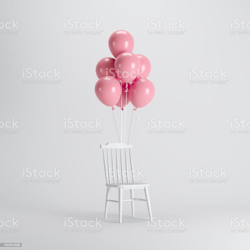 Weißer Stuhl Mit Rosa Ballons Schweben Auf Weißem Hintergrund