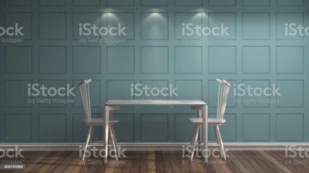 Weiße Stühle Und Tische Vor Der Blauen Wand Vintage Leeren Raum 3d  Rendering Luxus Wohnzimmer Moderne