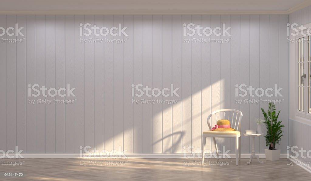 Weiße Stühle Vor Wand Vintage Leeren Raum 3d Rendering Luxus Wohnzimmer  Moderne Mitte Innen Jahrhundert Esszimmer