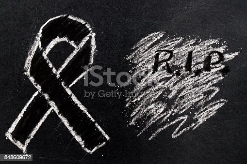 istock White chalk drawing as black ribbon shape on black board background (Concept for symbol of remembrance or mourning) 848609672