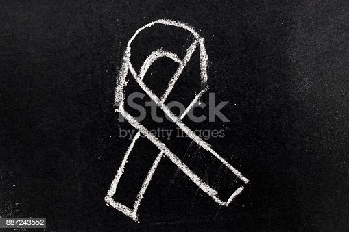 istock White chalk drawing as black ribbon shape on black board background (Concept for symbol of remembrance or mourning) 887243552