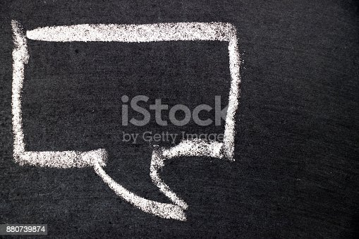 istock White chalk drawing as bubble speech on black board background (Concept as online chat, thinking, talking with customer) 880739874