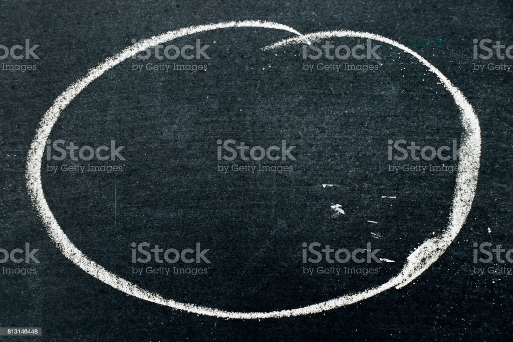 White chalk drawing as circle shape on black board background