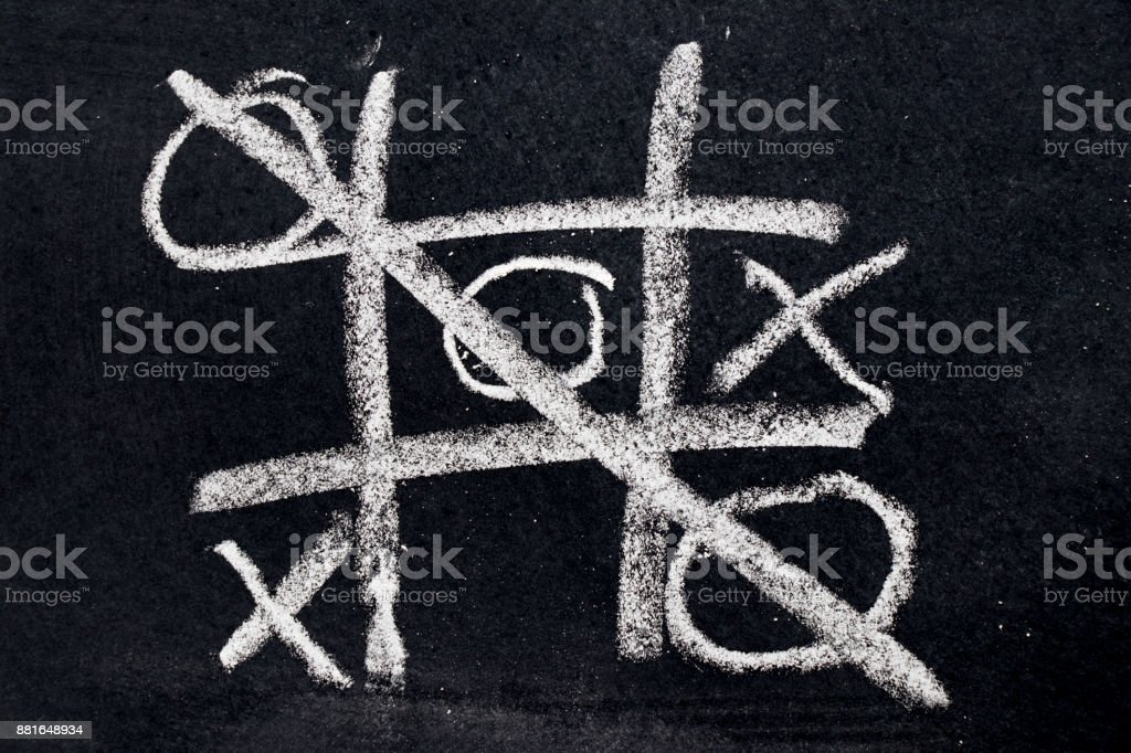 White chalk drawing as Tic Tac Toe with the winner and loser shape on black board background stock photo